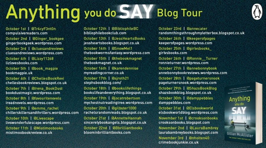 Anything You Do Say blog tour banner
